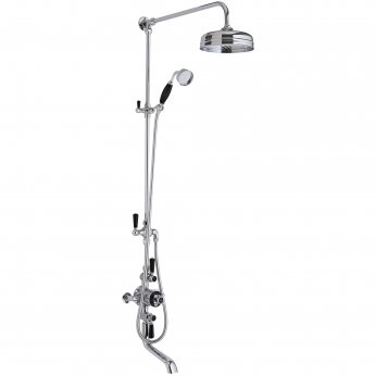 Hudson Reed Topaz Triple Exposed Mixer Shower with Shower Kit - Fixed Head & Spout - Black/Chrome