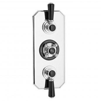 Hudson Reed Topaz Black Concealed Shower Mixer with Slider Rail Kit + Fixed Head - Chrome