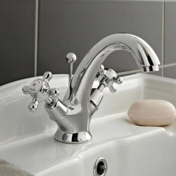 Hudson Reed Topaz Dome Mono Basin Mixer Tap Dual Handle with Pop Up Waste - Chrome