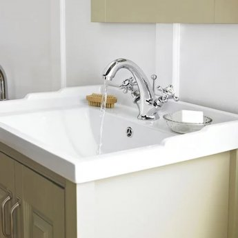 Hudson Reed Topaz Hexagonal Mono Basin Mixer Tap Dual Handle with Pop Up Waste - Chrome