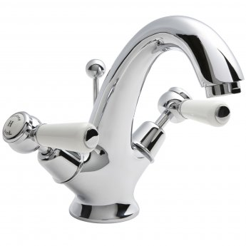 Hudson Reed Topaz Lever Mono Basin Mixer Tap Dual Handle with Pop-Up Waste - Chrome