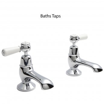 Hudson Reed Topaz Lever Basin Taps and Bath Taps, Chrome