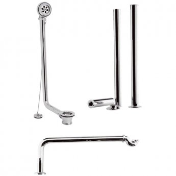 Hudson Reed Traditional Roll Top Bath Pack with Waste, Legs and Trap, Chrome