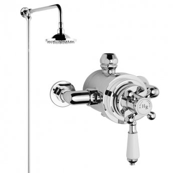Hudson Reed Traditional Dual Exposed Shower Valve with Rigid Riser Kit - Chrome