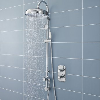 Hudson Reed Traditional Shower Riser Kit with Drencher Head, Handset and Elbow, Chrome