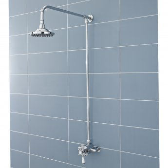 Hudson Reed Traditional Shower Riser Kit, Fixed Shower Head, Chrome