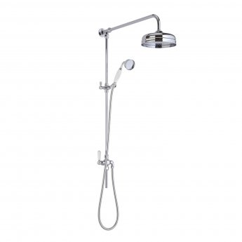 Hudson Reed Victorian Grand Shower Riser Kit with Diverter, Fixed Shower Head, Handset, Chrome