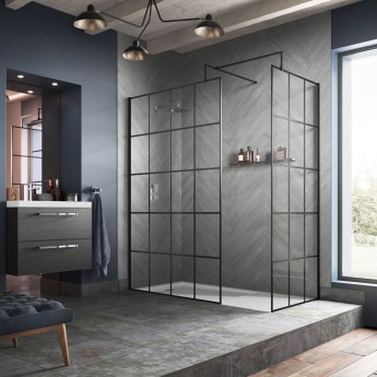 Hudson Reed Frame Effect Wet Room Screen with Support Bar 1400mm Wide - 8mm Glass
