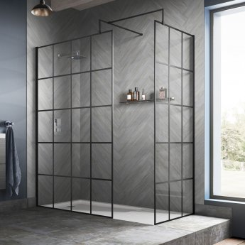 Hudson Reed Frame Effect Wet Room Screen with Support Bar 760mm Wide - 8mm Glass