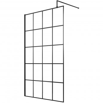 Hudson Reed Frame Effect Wet Room Screen with Support Bar 1200mm Wide - 8mm Glass