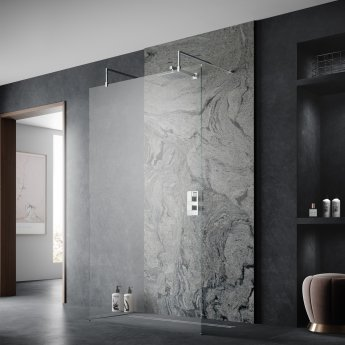 Hudson Reed Wetroom Screen 900mm Wide with Arms and Feet - 8mm Glass