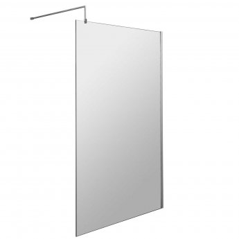 Hudson Reed Wetroom Screen 1100mm Wide with Chrome Support Bar - 8mm Glass