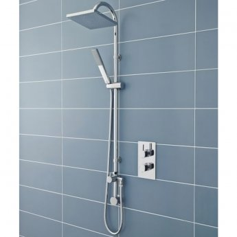 Hudson Reed Worth Shower Kit with Fixed Head and Pencil Handset - Chrome
