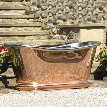 Hurlingham Bulle Copper Bath with Copper Exterior and Nickel Interior Finish - 0 Tap Hole