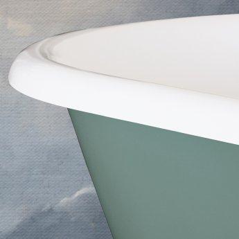 Hurlingham Dryden Cast Iron Roll Top Bath including White Feet - 2 Tap Hole