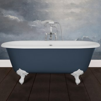 Hurlingham Dryden Small Cast Iron Roll Top Bath including White Feet - 0 Tap Hole