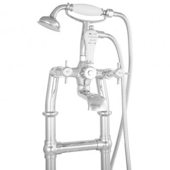 Hurlingham Freestanding Small Mixer Taps 910mm H with Pipe - Chrome