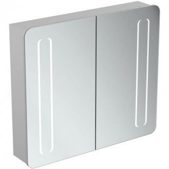 Ideal Standard 2-Door Mirror Cabinet with Bottom Ambient and Front Light 830mm Wide - Aluminium