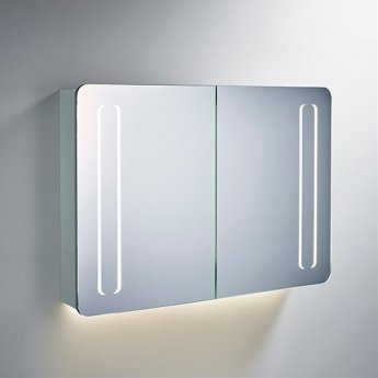 Ideal Standard 2-Door Mirror Cabinet with Bottom Ambient and Front Light 1030mm Wide - Aluminium