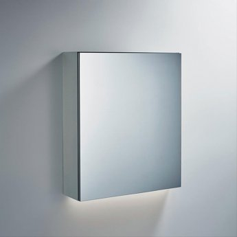 Ideal Standard 1-Door Mirror Cabinet with Bottom Ambient Light 600mm Wide - Aluminium