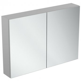 Ideal Standard 2-Door Mirror Cabinet with Bottom Ambient Light 1000mm Wide - Aluminium