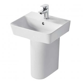 Ideal Standard Concept Air Cube Basin with Semi Pedestal 400mm Wide - 1 Tap Hole