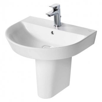 Ideal Standard Concept Air Arc Basin with Semi Pedestal 550mm Wide - 1 Tap Hole