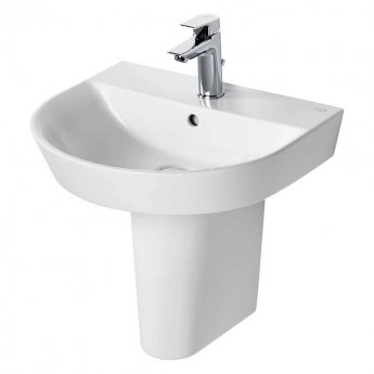 Ideal Standard Concept Air Arc Basin with Semi Pedestal 500mm Wide - 1 Tap Hole