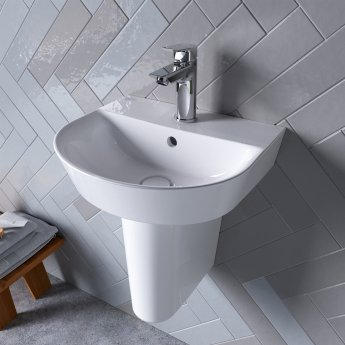 Ideal Standard Concept Air Arc Basin with Semi Pedestal 400mm Wide - 1 Tap Hole