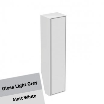 Ideal Standard Concept Air 1 Door Tall Column Unit 400mm Wide - Gloss Light Grey / Matt White