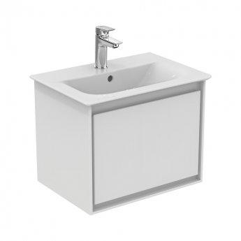 Ideal Standard Concept Air 1 Drawer Wall Hung Vanity Basin 500mm Gloss White/Matt White