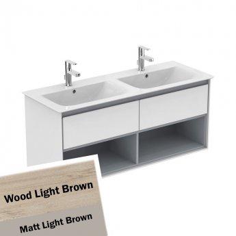 Ideal Standard Concept Air 2 Drawers Wall Hung Vanity Basin 1200mm Wood Light Brown/Matt Light Brown