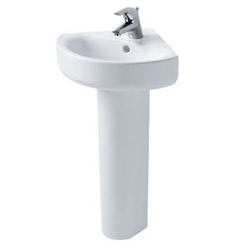 Ideal Standard Concept Arc Corner Basin and Full Pedestal 450mm Wide 1 Tap Hole