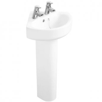Ideal Standard Concept Arc Corner Basin and Full Pedestal 450mm Wide 2 Tap Hole