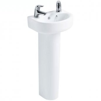 Ideal Standard Concept Arc Handrinse Basin and Full Pedestal 350mm Wide 2 Tap Hole