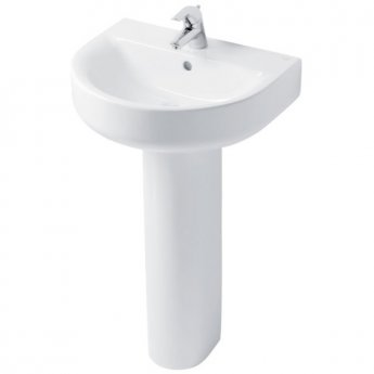 Ideal Standard Concept Arc Handrinse Basin and Full Pedestal 450mm Wide 1 Tap Hole