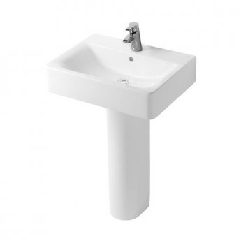 Ideal Standard Concept Cube Basin and Full Pedestal 550mm Wide 1 Tap Hole