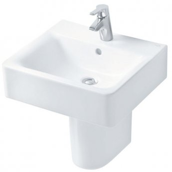 Ideal Standard Concept Cube Basin and Semi Pedestal 500mm Wide 1 Tap Hole