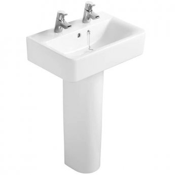Ideal Standard Concept Cube Short Projection Basin and Full Pedestal 550mm Wide 2 Tap Hole