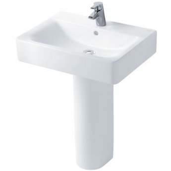 Ideal Standard Concept Cube Basin and Full Pedestal 600mm Wide 1 Tap Hole