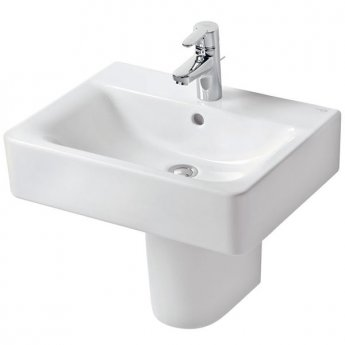 Ideal Standard Concept Cube Basin and Semi Pedestal 600mm Wide 1 Tap Hole