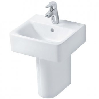 Ideal Standard Concept Cube Handrinse Basin and Semi Pedestal 400mm Wide 1 Tap Hole
