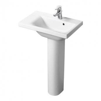 Ideal Standard Concept Space LH Basin with Full Pedestal 600mm Wide - 1 Tap hole