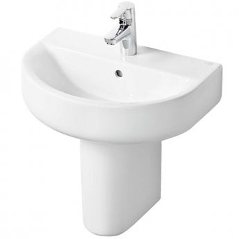 Ideal Standard Concept Space Arc Short Projection Basin and Semi Pedestal 550mm x 380mm 1 Tap Hole