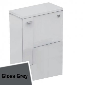 Ideal Standard Concept Space WC Unit with Worktop and Adjustable Cistern LH 600mm Wide - Gloss Grey