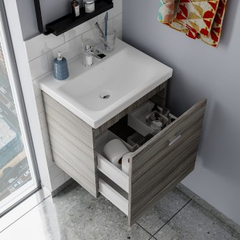 Ideal Standard Concept Space Wall Hung Vanity Unit with Basin 500mm Wide - Elm