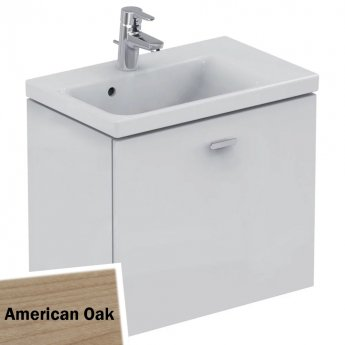 Ideal Standard Concept Space Wall Hung Vanity Unit with RH Basin 600mm Wide - American Oak