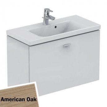 Ideal Standard Concept Space Wall Hung Vanity Unit with Basin 800mm Wide - American Oak