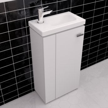 Ideal Standard Concept Space Floor Standing Vanity Unit with LH Basin 450mm Wide - Gloss White