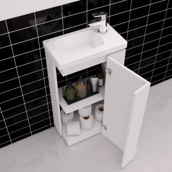 Ideal Standard Concept Space Floor Standing Vanity Unit with RH Basin 450mm Wide - Gloss White